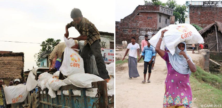 CARE packages distribution after Nepal floods