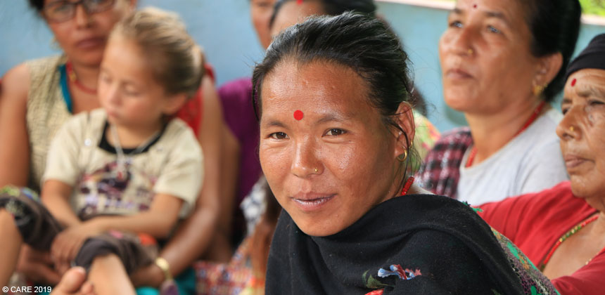Sukha Maya, a woman in Nepal, pictured at a women's meeting