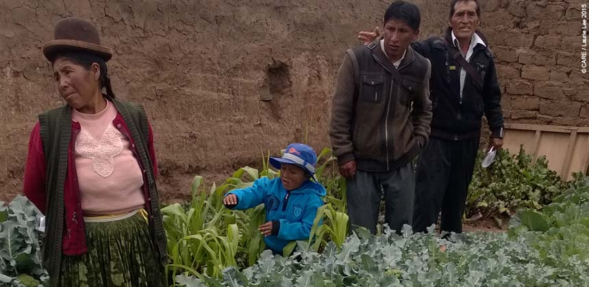 People at a vegetable garden in Peru