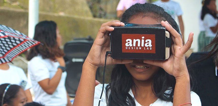 Student in the Philippines using virtual reality headset