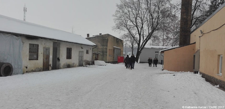 Snow outside Adasevci refugee camp
