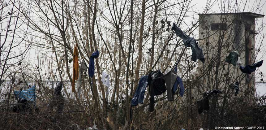 Clothes drying on a tree in freezing temperatures
