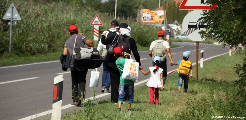 Refugees by roadside in Serbia