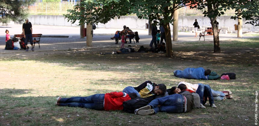 Refugees sleeping in a park in Serbia