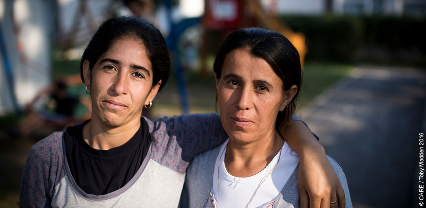Two women refugees in Serbia