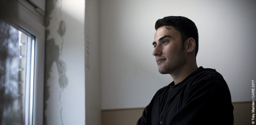 A young man at a refugee centre in Serbia