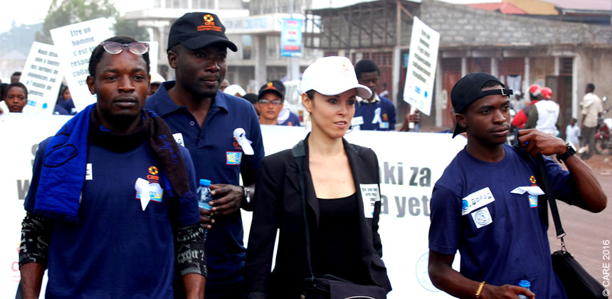 Stepha Rouichi and male colleagues on a protest march