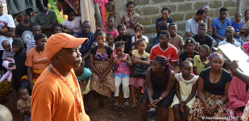People waiting for assistance in Sierra Leone