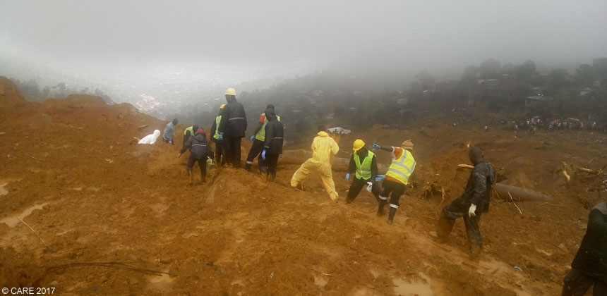 Rescue teams on mudslide
