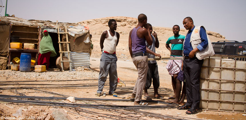 CARE staff and construction workers in Bossaso IDP camp, Puntland