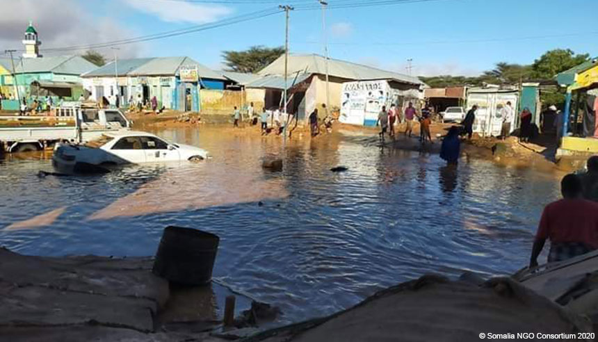 A flooded street in Somalia