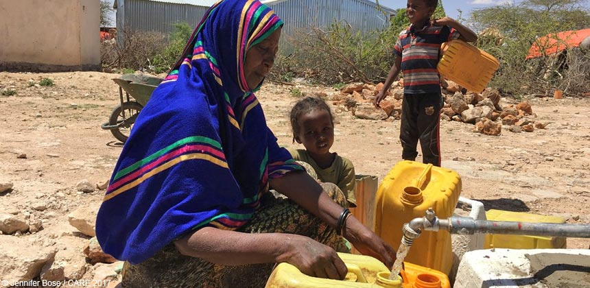 Woman collecting water in Somaliland