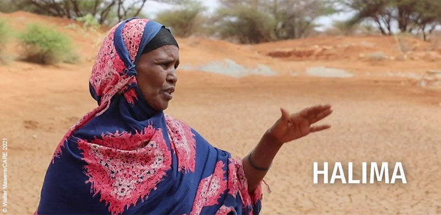 Halima at dried-up reservoir in Somaliland