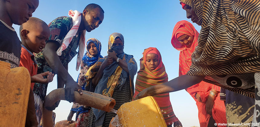 People getting water at a water point in Somaliland