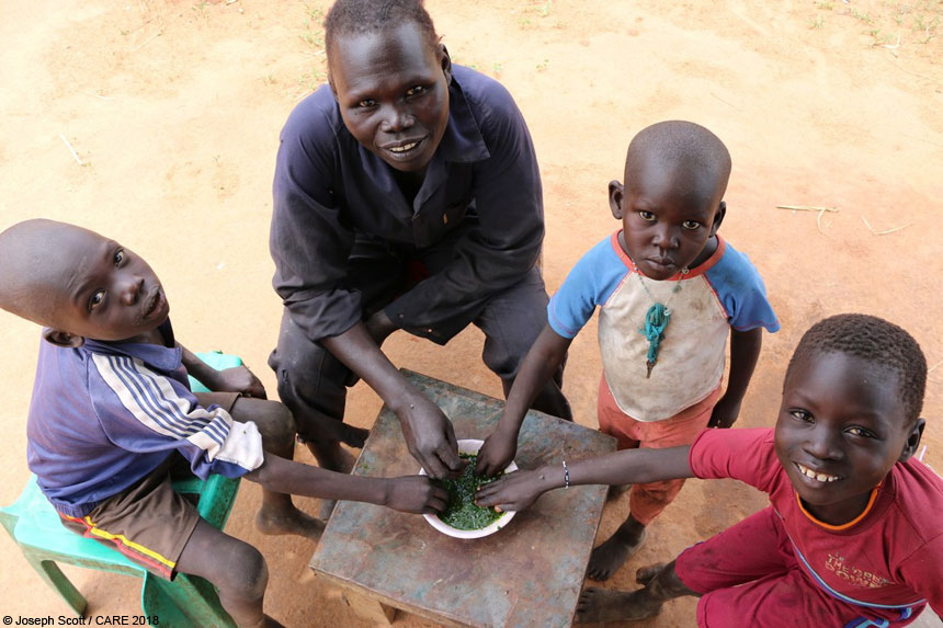 Natalia Adong and her children in South Sudan