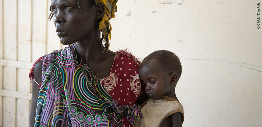 Nyaluak Puk with her 12-month-old son in South Sudan