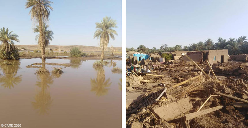 Composite of two images of flooding in Sudan