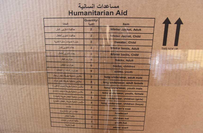 Contents of a winter CARE package for Syria