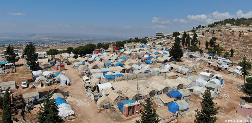Aerial photo of Al Aman displaced persons camp in Syria