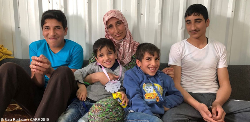 Aysha and her family at Azraq camp