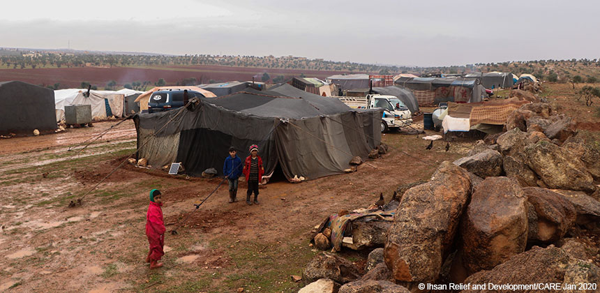 A camp for internally displaced people in Idlib, Syria