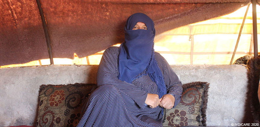 Jawhara inside her tent at a displaced persons camp in Syria