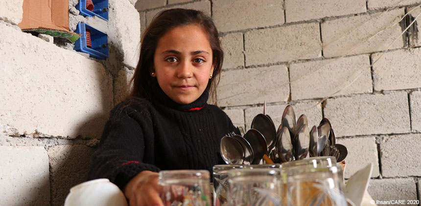 Young girl in a kitchen in Syria