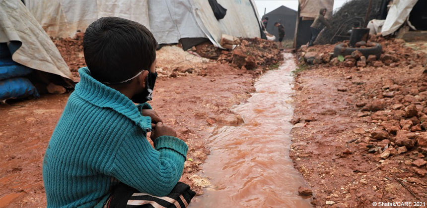 A boy at a tent camp in Syria