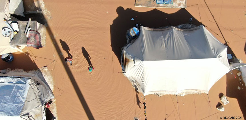 Aerial photo of flooded tents at camp in northern Syria