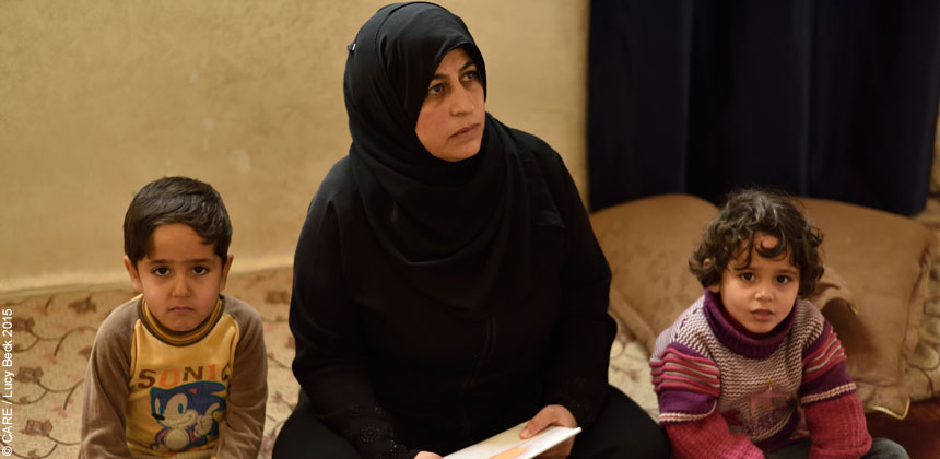 Badriya, a Syrian refugee, with two of her children