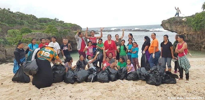 A beach clean-up in Tonga
