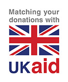 UK Aid donation and flag