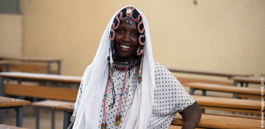 Rabyas, a young woman in a classroom in Ethiopia