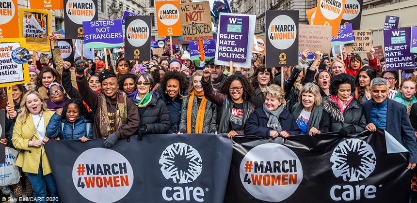 Celebrities leading the #March4Women march in London, 2020