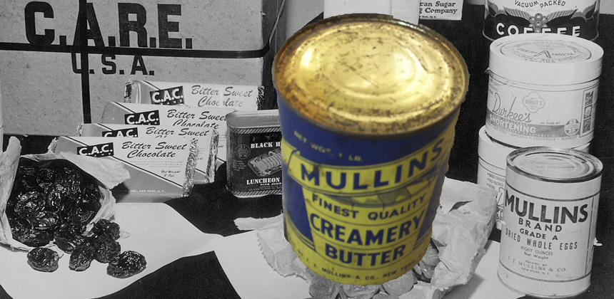CARE package contents with original tin of butter