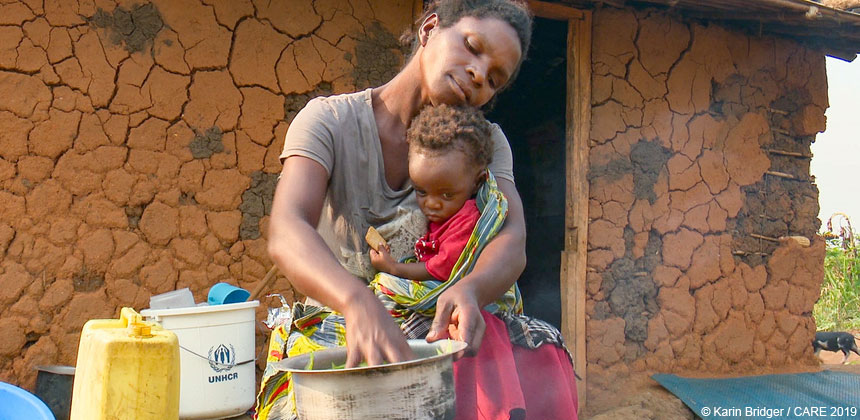 Cecile, a refugee from the DRC, with her baby