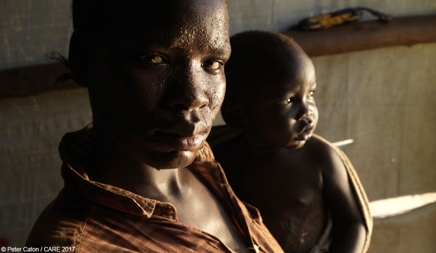 Woman and baby refugees in Uganda
