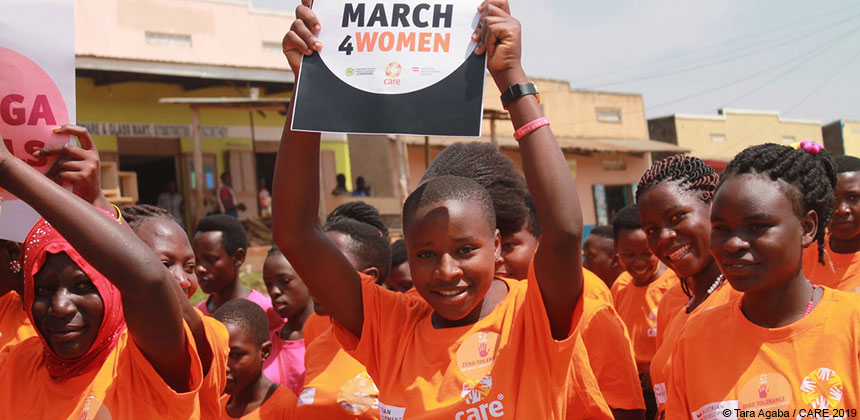 Young women on a #March4Women march in Uganda
