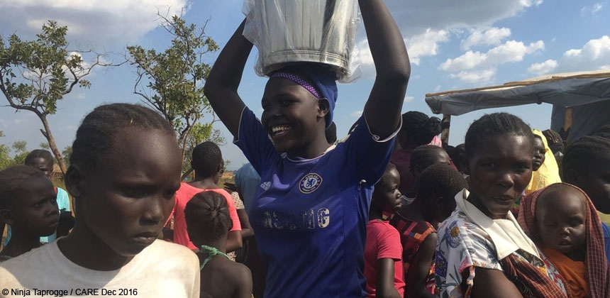 Women at an aid distribution in Uganda