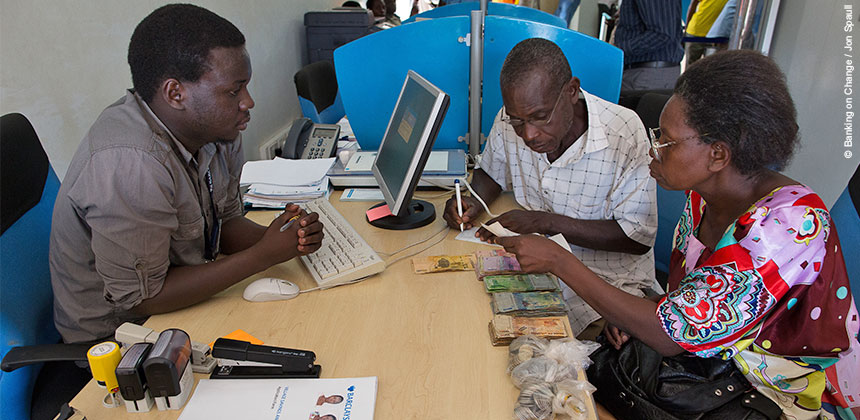 Depositing money at Barclays bank in Uganda