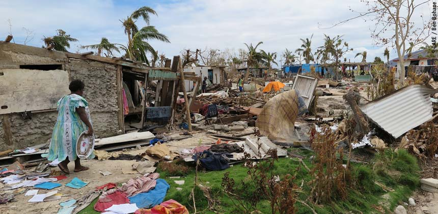 Debris from damaged houses after the cyclone