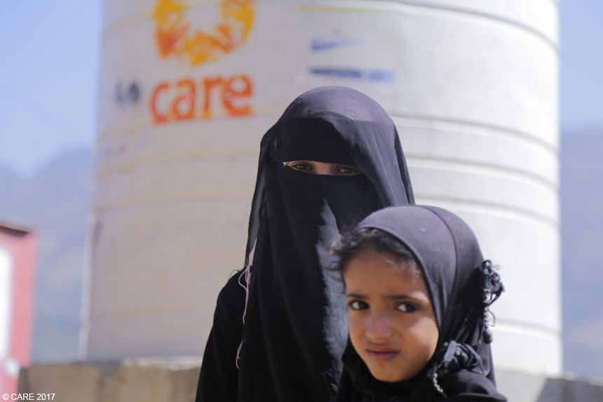 Young women at a CARE water point in Yemen