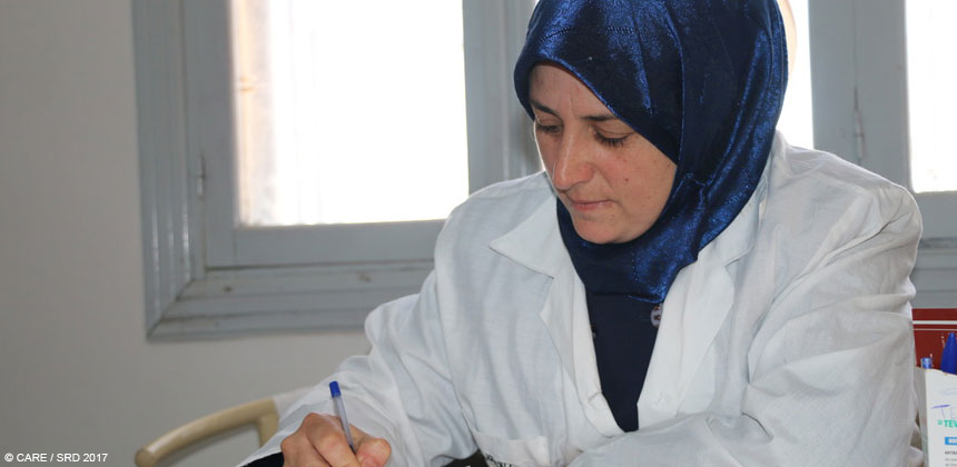 Midwife at health centre in Aleppo