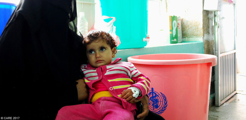 A child in Yemen recovering from cholera
