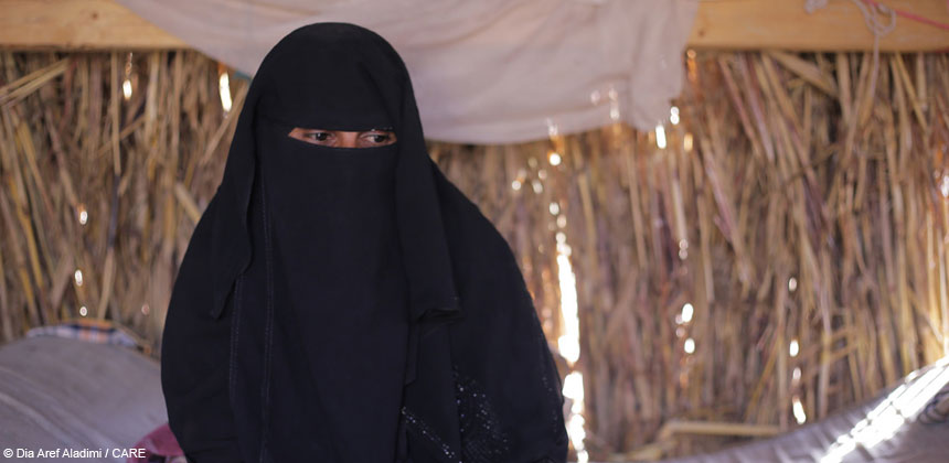 A woman in a temporary shelter in Yemen