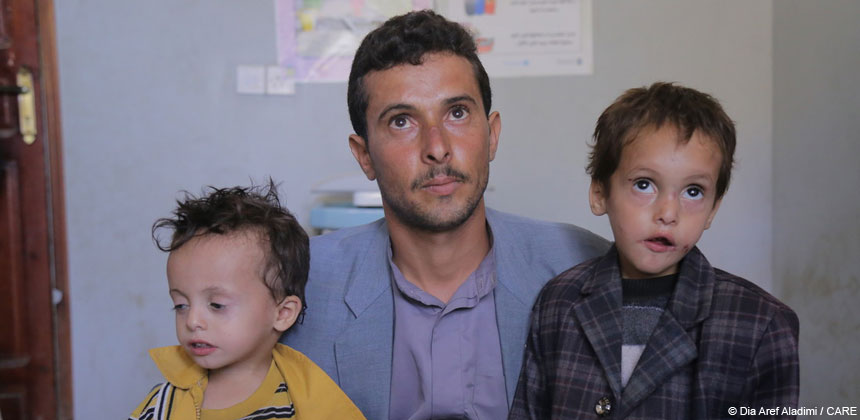 A man and two children in Yemen