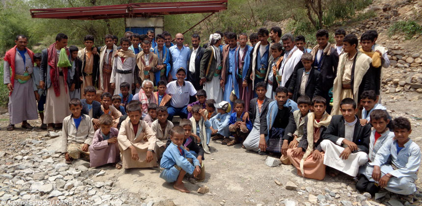 Group of men and boys in Suwayr district Yemen