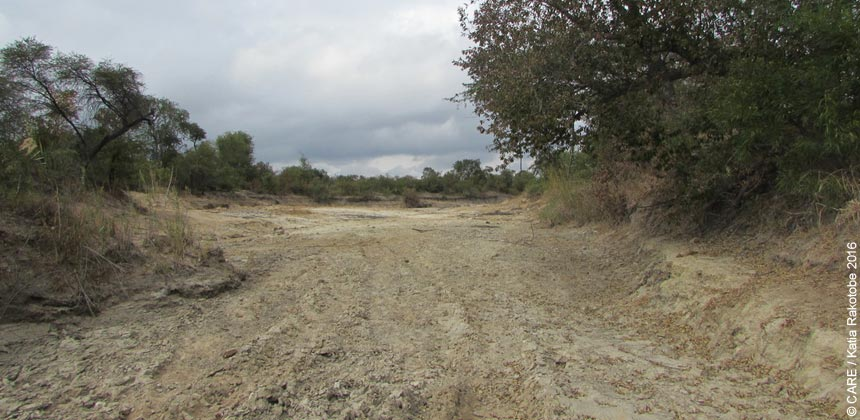 Dried out riverbed in Zimbabwe