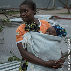 Woman and baby after cyclone in Mozambique
