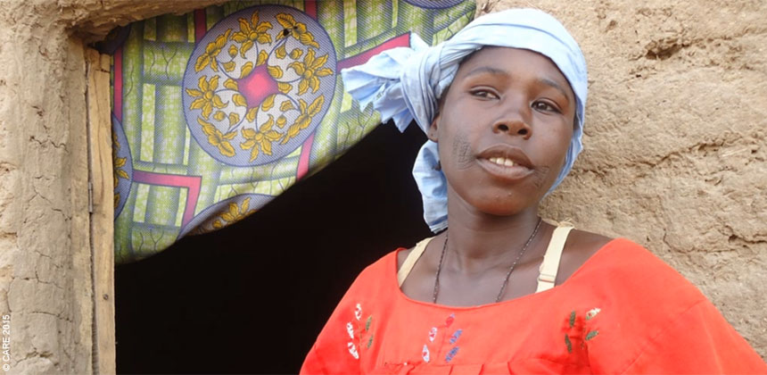 Nana outside her home in Niger